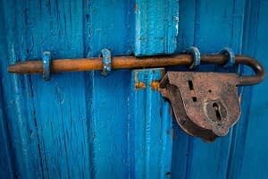 Blue Door with lock