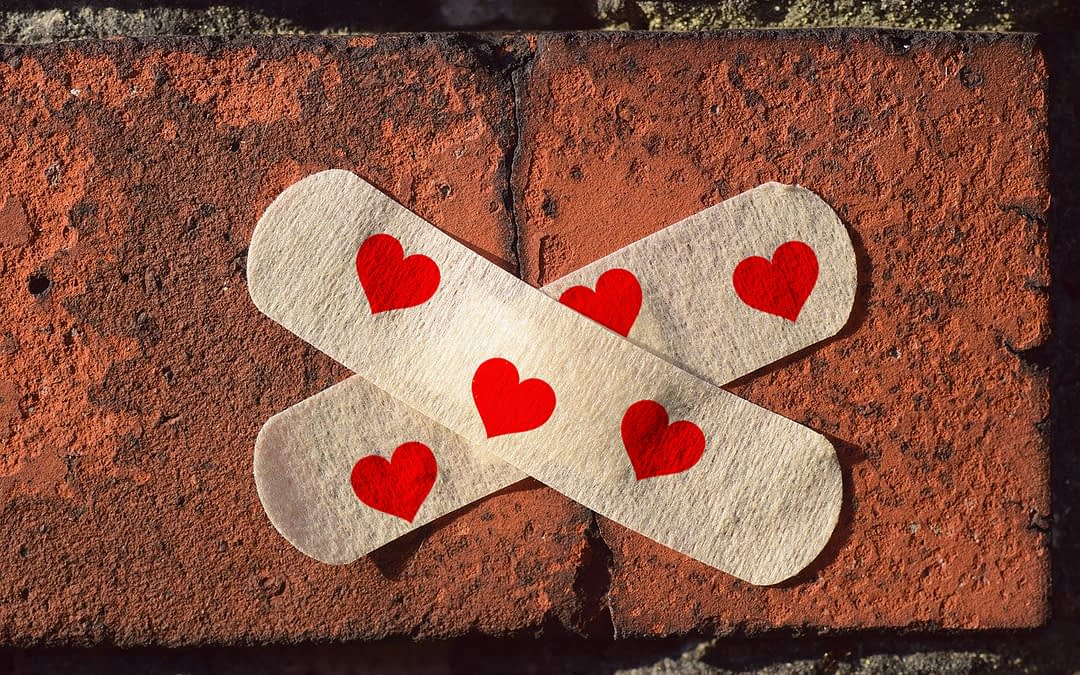 Broken Brick with Hearts Band-Aid